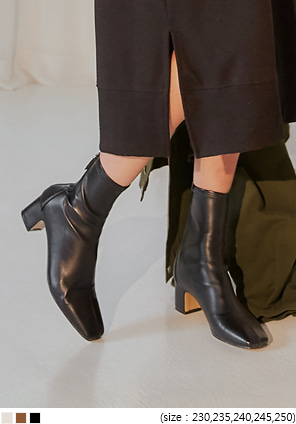 [SHOES] SLIM SQUARE TOE ANKLE BOOTS